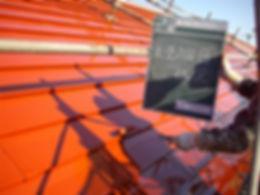 三浦市体育館屋根塗装工事 上塗り
