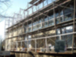 三浦市体育館屋根塗装工事 足場完成