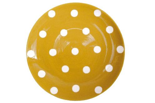 Assiette à dessert mixte GROS POIS  jaune curry 22cm