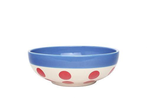 Assiette à céréales REVERSO bleu gitane pois rouge 16,5cm