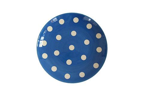 Assiette à dessert GROS POIS bleu gitane 22cm