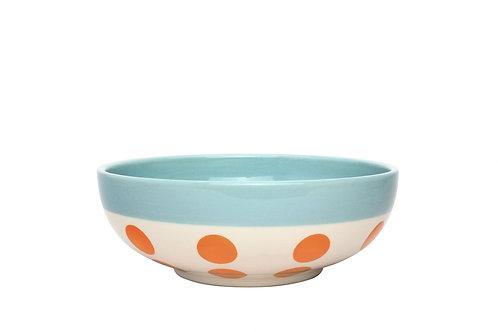 Assiette à céréales REVERSO bleu glacier-pois orange 16,5cm