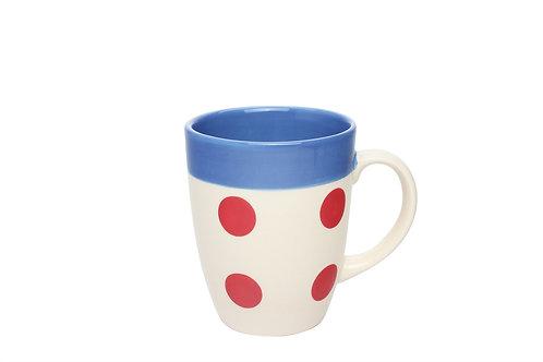 Mug REVERSO bleu gitane-pois rouge 30cl