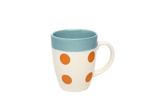Mug REVERSO bleu glacier-pois orange 30cl