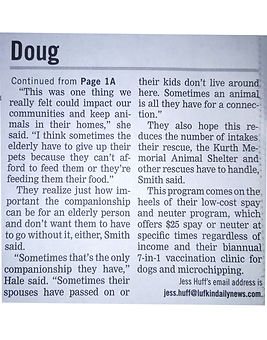 LDN Article on Dougs Hugs Food Pantry Pg