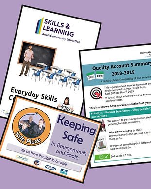 a selection of easy read materials made by people first forum, including a Keeping Safe book, a quality acount and information on courses from skills and learning