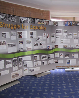 "part of a large display called ""Struggle For Equality"". there is a green strip going along the middle of the display with various dates and events around it. These images show different parts of learning disability history"