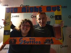 a couple using our sefie frame at the club night