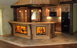 Adirondac styl millwork with hickory cabinets, light boxes, combination bar and kitchen