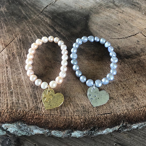(PB8) pearls with heart charm and tiny cross