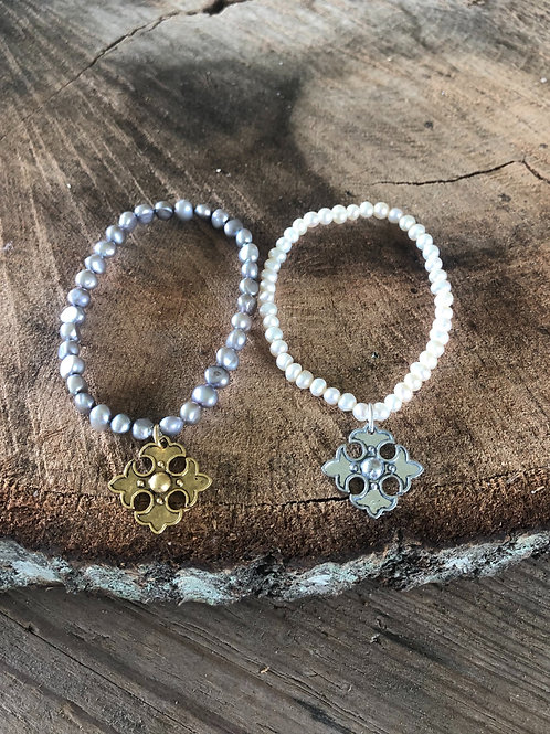 small pearls with apostle cross charm