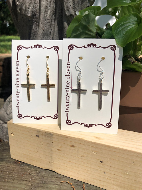 (E26) traditional cross on classic earwire