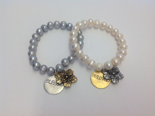 (PB5) pearls with hand-stamped disc