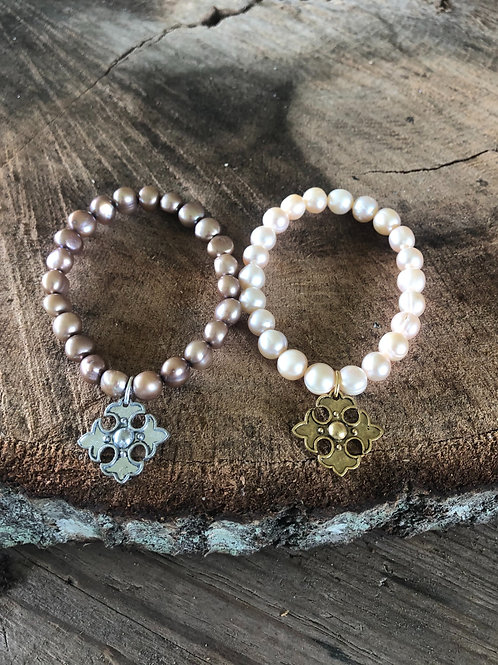 pearls with apostle cross charm