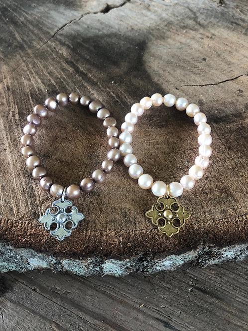 (PB4) pearls with apostle cross charm