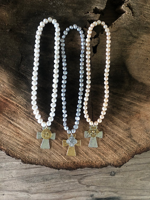 """18"""" pearls with cross and charm"""