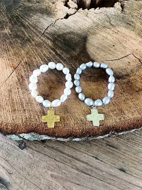 (BPB2) baroque pearls with square cross