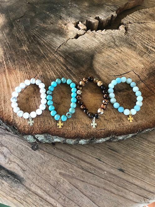 (SBB2) stone beads with tiny cross