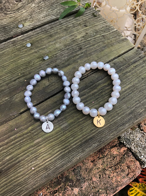 (PB6) pearls with hand-stamped initial disc