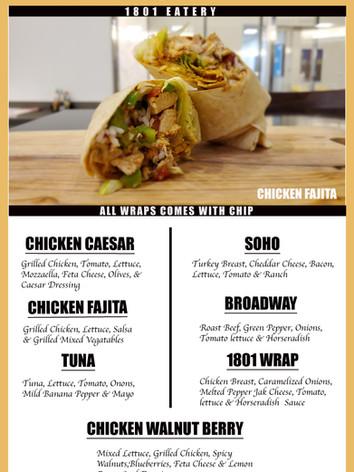 Meats, cheese, veggies & sauce stuff inside a flour or spinach tortilla.