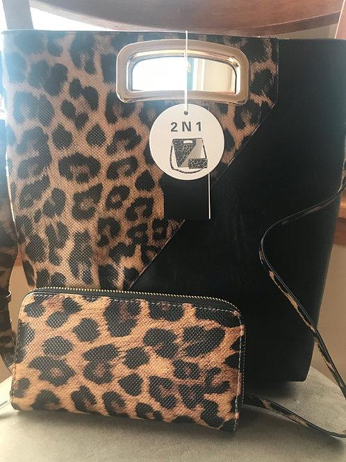 Leopard Pattern Handbag w/Wallet