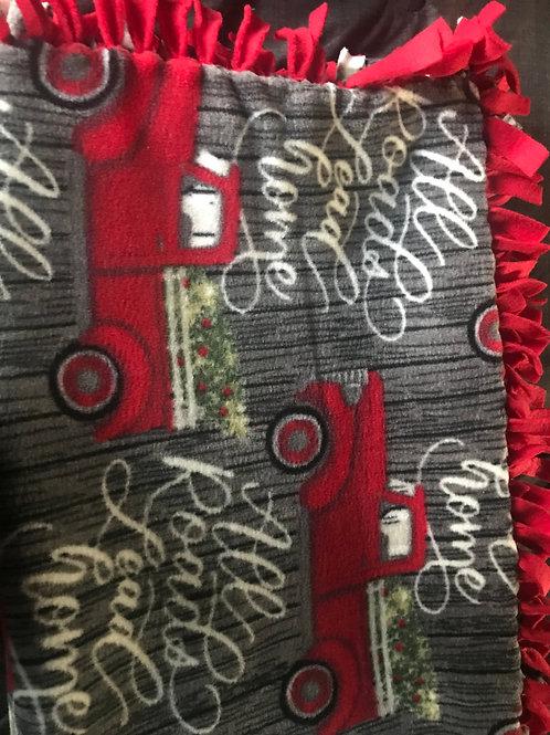 Red Tree Truck Tie Blanket