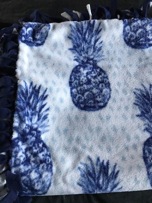 Blue Pineapple Tie Blanket