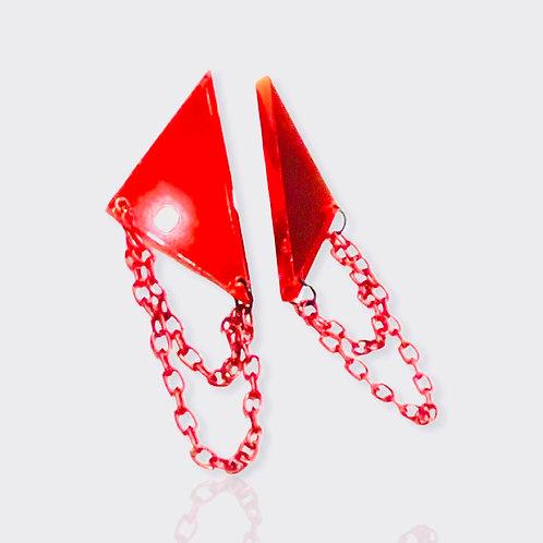 """boucles d'oreilles """"rockstar"""" miroir rouge petit format"""