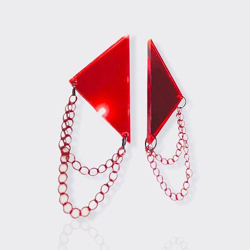 """boucles d'oreilles """"rockstar"""" miroir rouge grand format"""