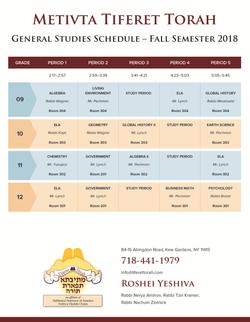 MTT - general studies schedule