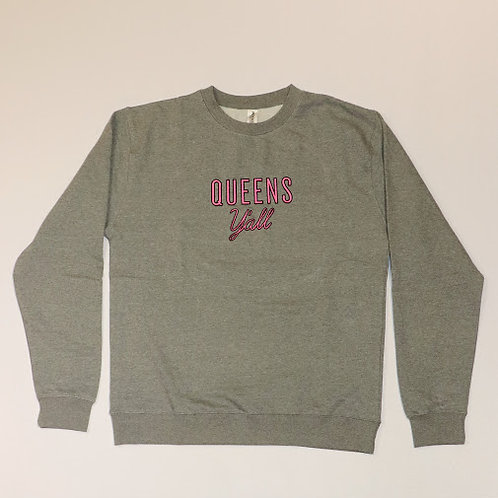 Queens Y'all Embroidered Crew Neck Sweatshirt