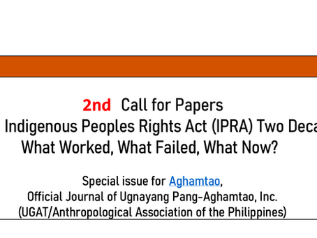 2nd Call for Papers: The Philippine Indigenous Peoples Rights Act (IPRA) Two Decades Later
