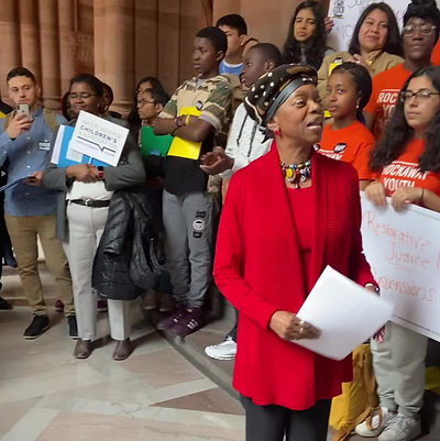 Senator Velmante Montgomery, sponsor of the 'Solutions Not Suspensions' bill speaks on Lobby Day, January 27, 2019.