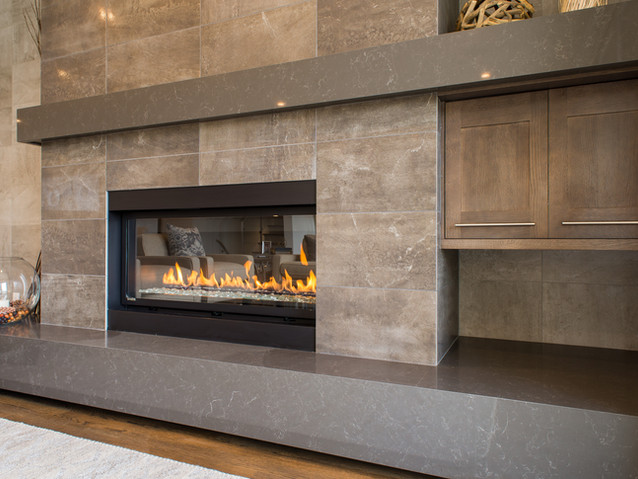 PQ Cinza 3cm mitered hearth and mantel