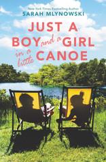jsut a boy and a girl in a little canoe.