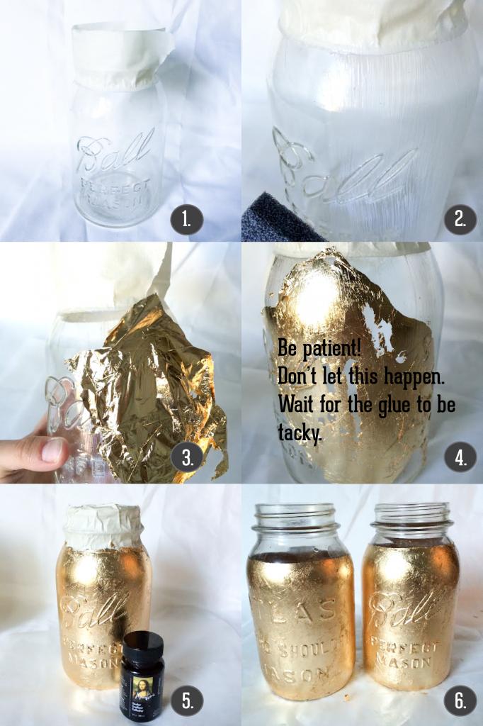 gold leaf mason jar DIY-01