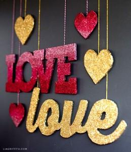 v-day glitter letters