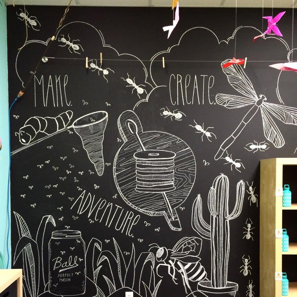 summer camp chalk wall