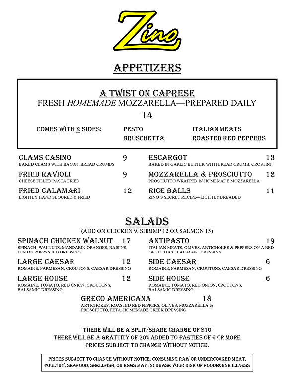 New 2 Page Menu for Black Books Summer 2