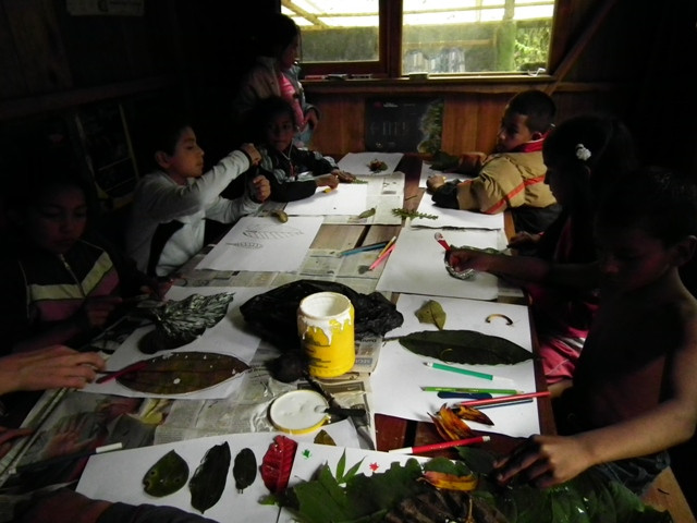 Kids making pictures with leaves from forest