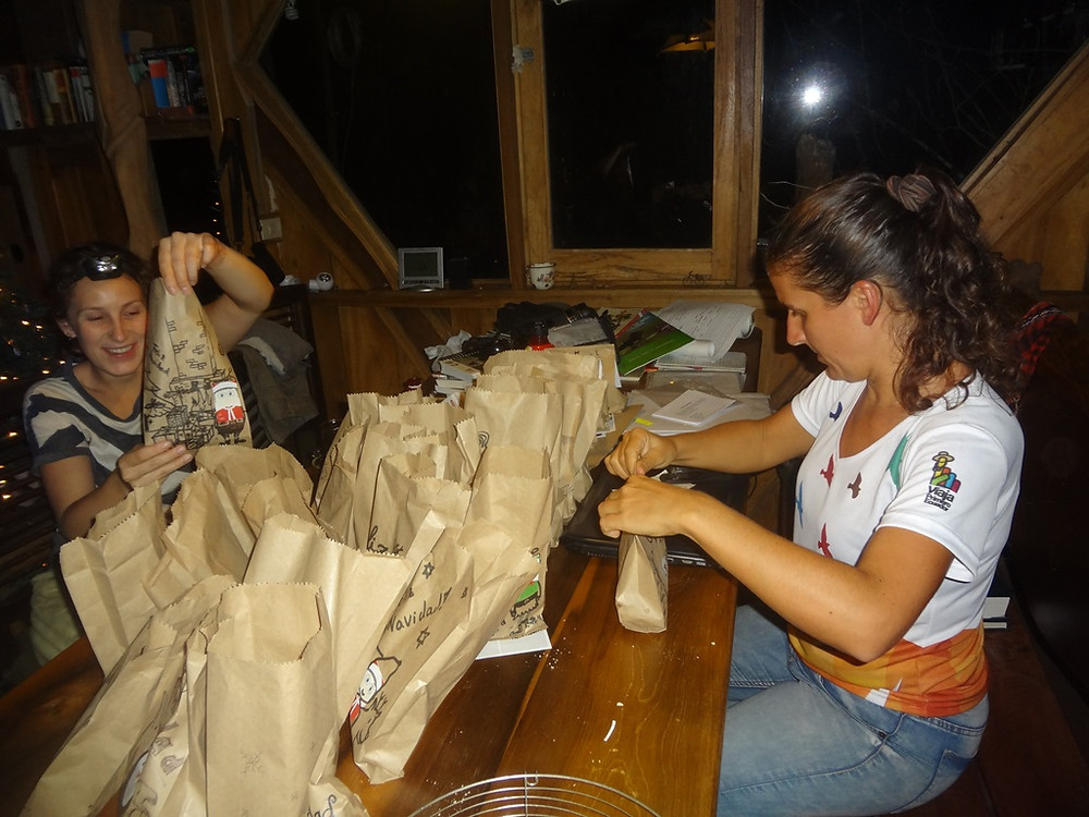 Filling the bags