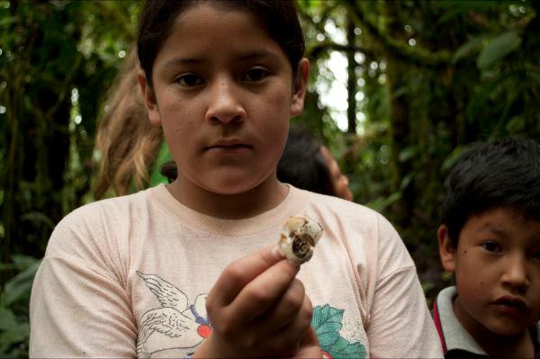 Girl found snail
