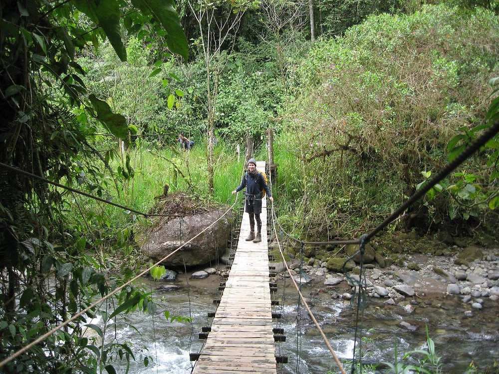 Intern Vivian crossing the hanging bridge over the Nambillo river: The only entrance to Las Tangaras Reserve