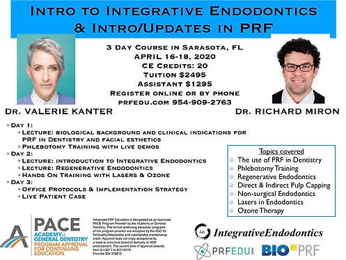 3 day PRF Course in Regenerative Endodontics, September 4-6, 2020