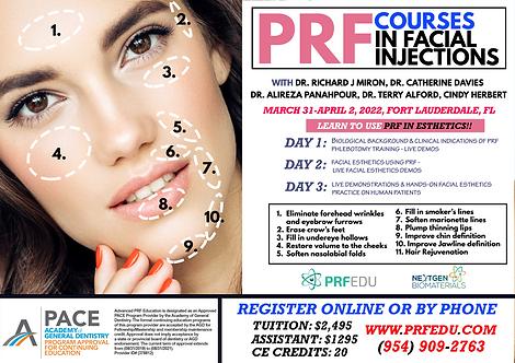 PRF Facial Esthetics Course Fort Lauderdale, March 31-April 2, 2022