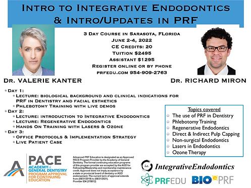 3 day PRF Course in Regenerative Endodontics, June 2-4, 2022