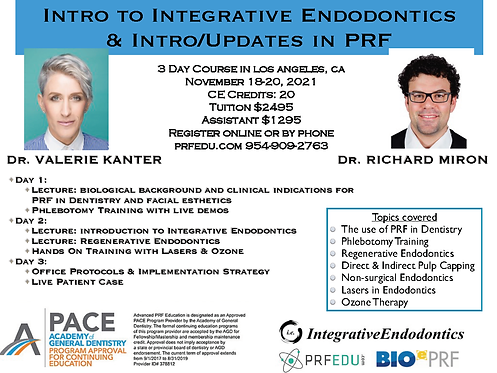 3 day PRF Course in Regenerative Endodontics, Nov 18-20, 2021