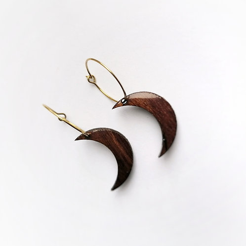 Dark Wood Crescent Moon Hoops