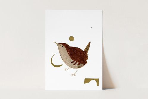 Modern Wren Poster, Minimal Wall Art, Garden Bird Illustration