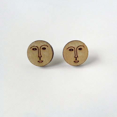 Eco Man on the Moon Natural Wood Studs
